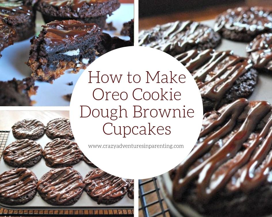 How to Make Oreo Cookie Dough Brownie Cupcakes