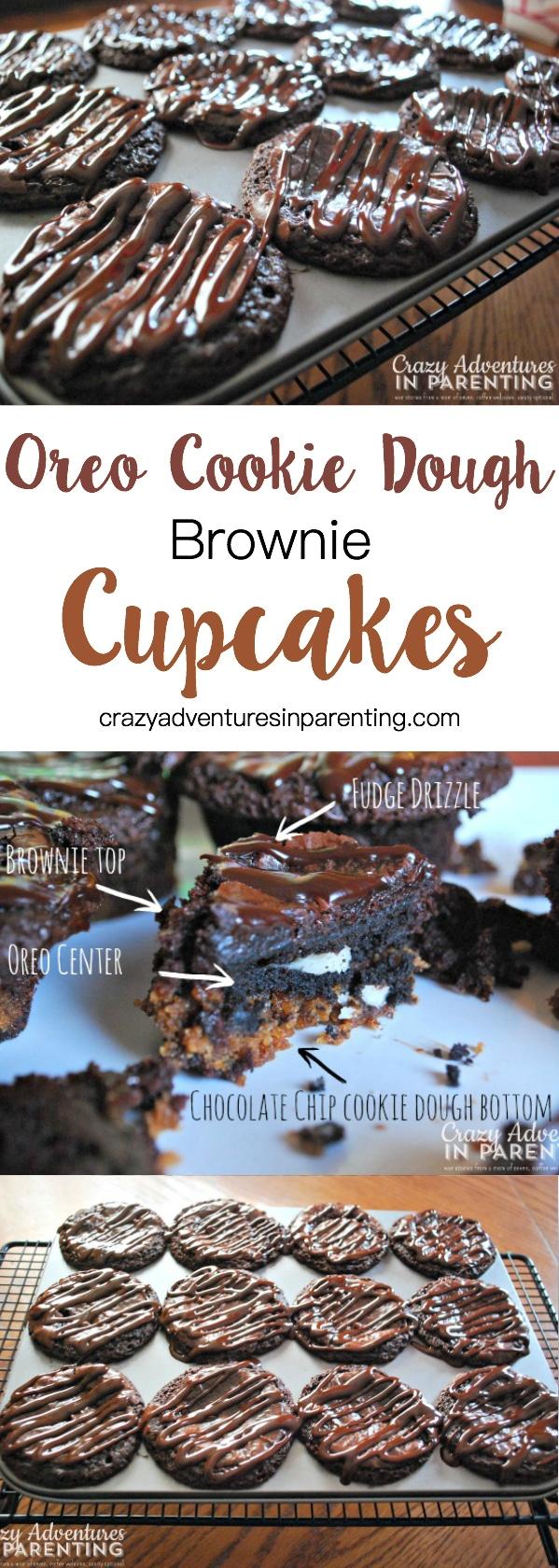 Oreo Cookie Dough Brownie Cupcakes