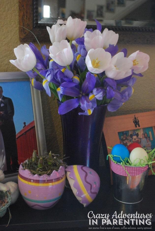 Delicate Easter Blooms and Easter Egg Hunt together