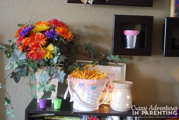 Easter basket decorations on shelf