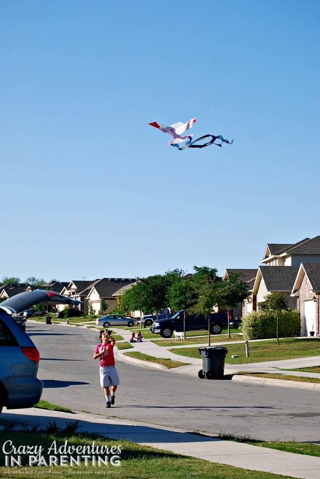oldest flying his kite