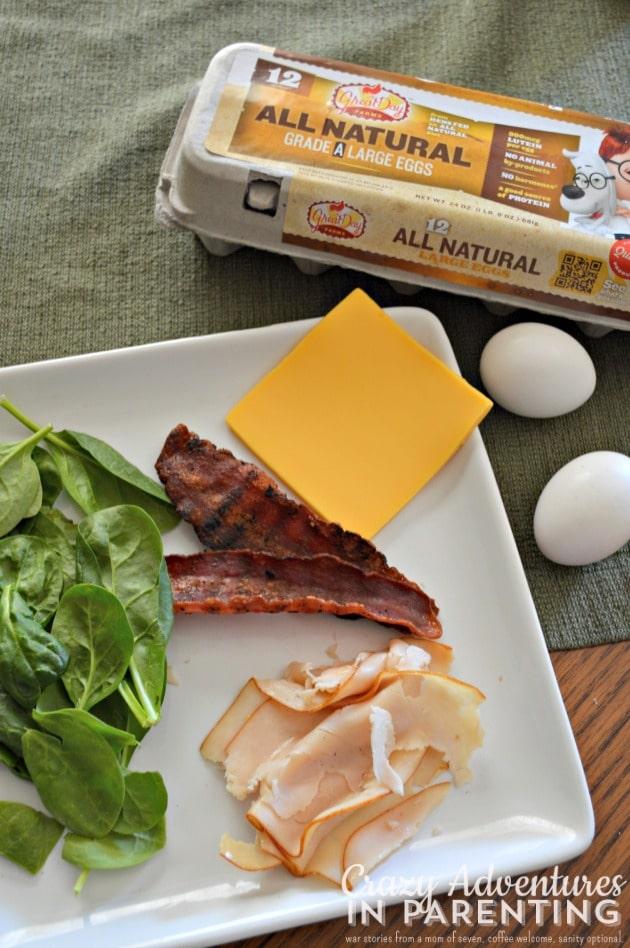 Breakfast Omelet Roll prep