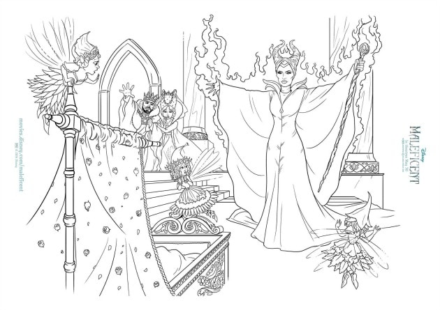 Maleficent activity sheets coloring page wide