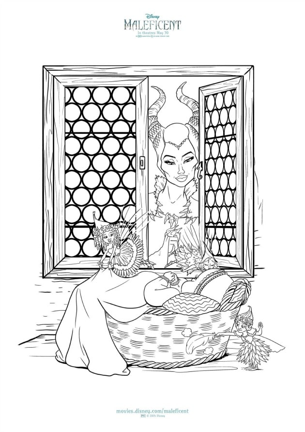 maleficent activity sheets coloring page window - Activity Coloring Pages