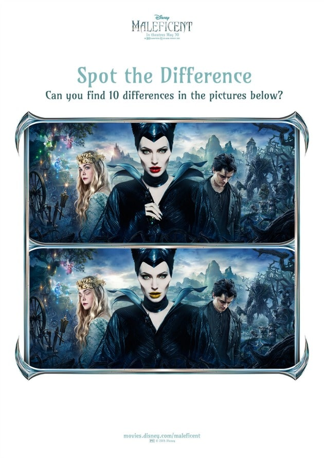 Maleficent activity sheets spot the difference2