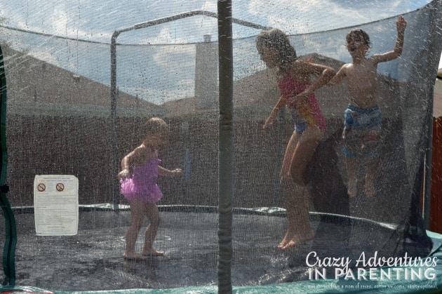 trampoline sprinkler fun