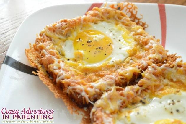 Cheesy Baked Egg Toast plated