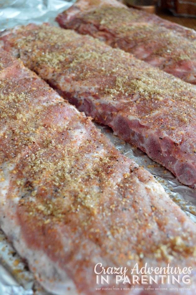 brown sugar and seasoning on the ribs