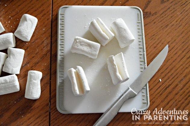 slicing marshmallows