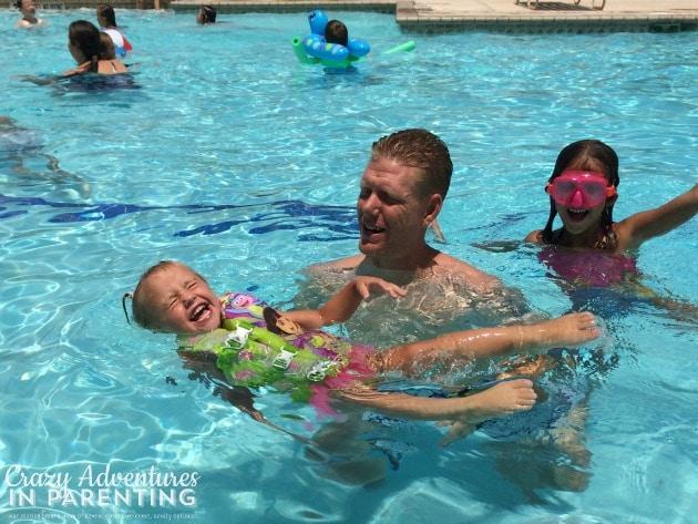 Baby V learning to swim