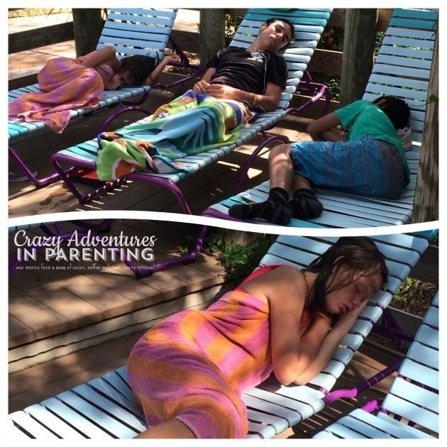 sleeping kids at Aquatica