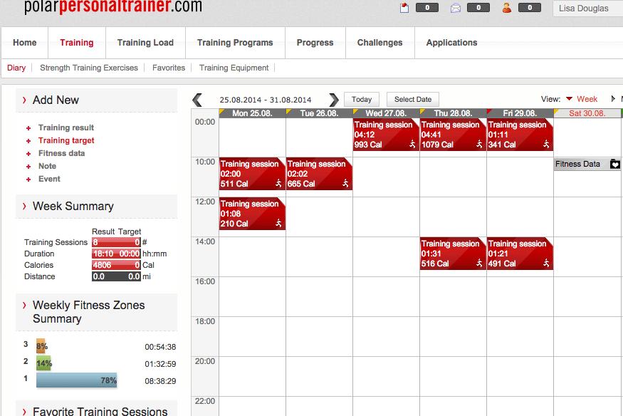 Polar Training Calendar Summary