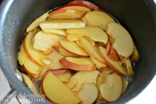simmering apple slices