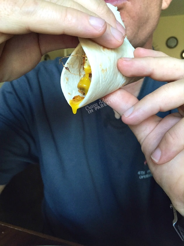 Breakfast Wrap oozing egg out the side