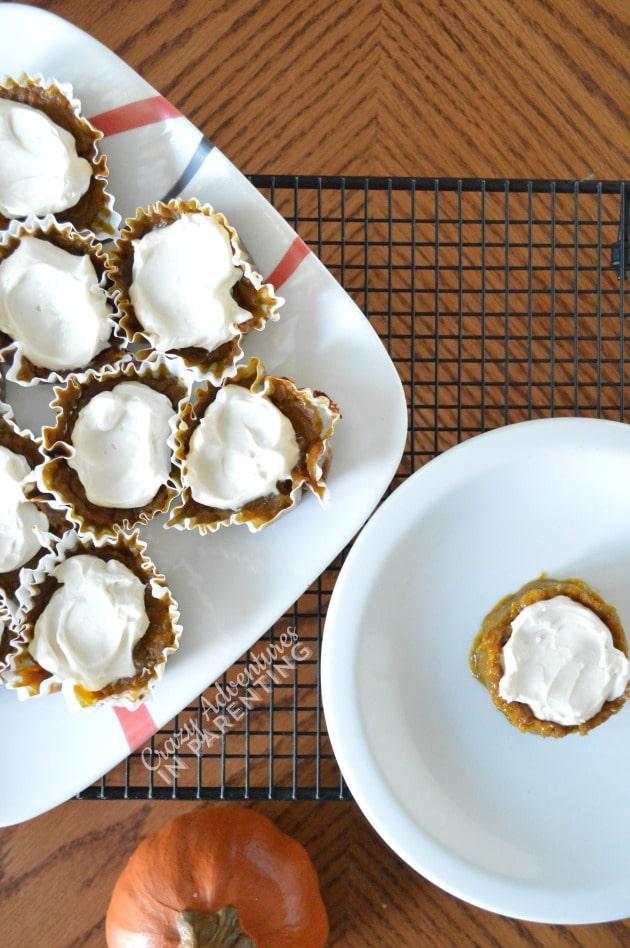 Grain-free Gluten-Free Pumpkin Pie Cupcakes on a Plate