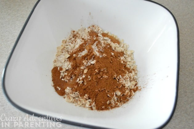 cinnamon and pure maple syrup added to plain oats for oatmeal