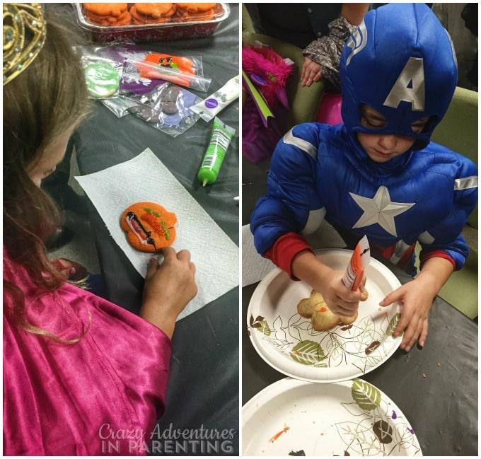 decorating cookies in costume