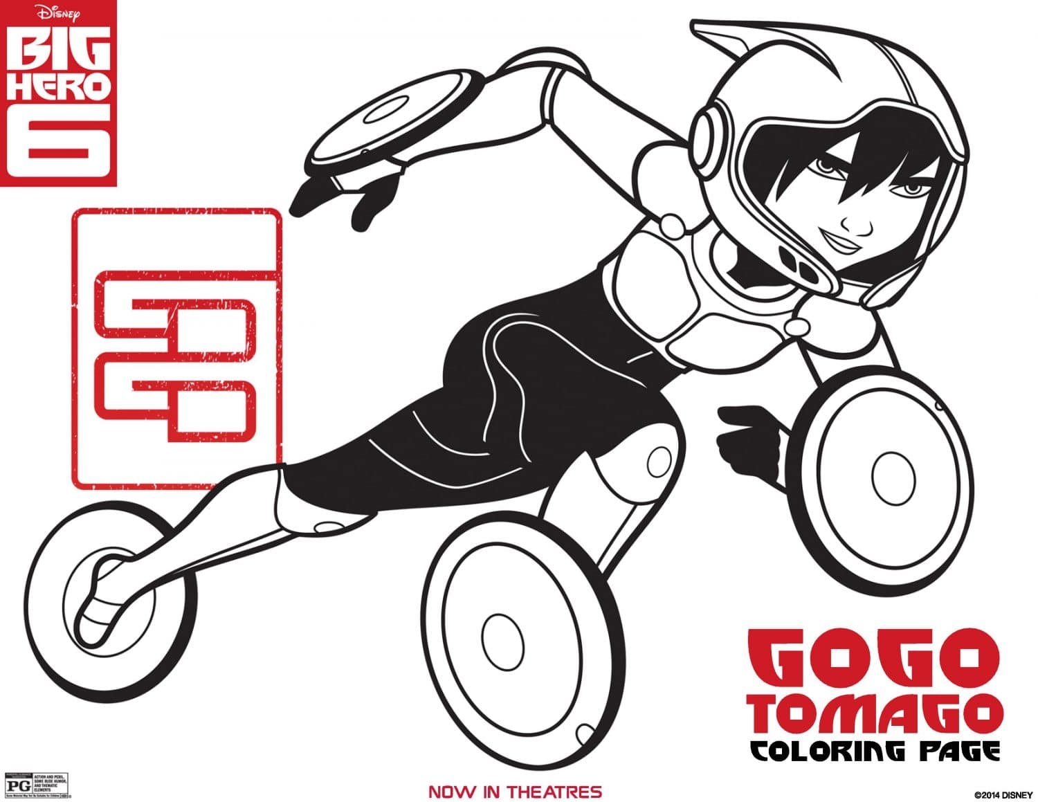 Big Hero 6 coloring page GoGo Tomago