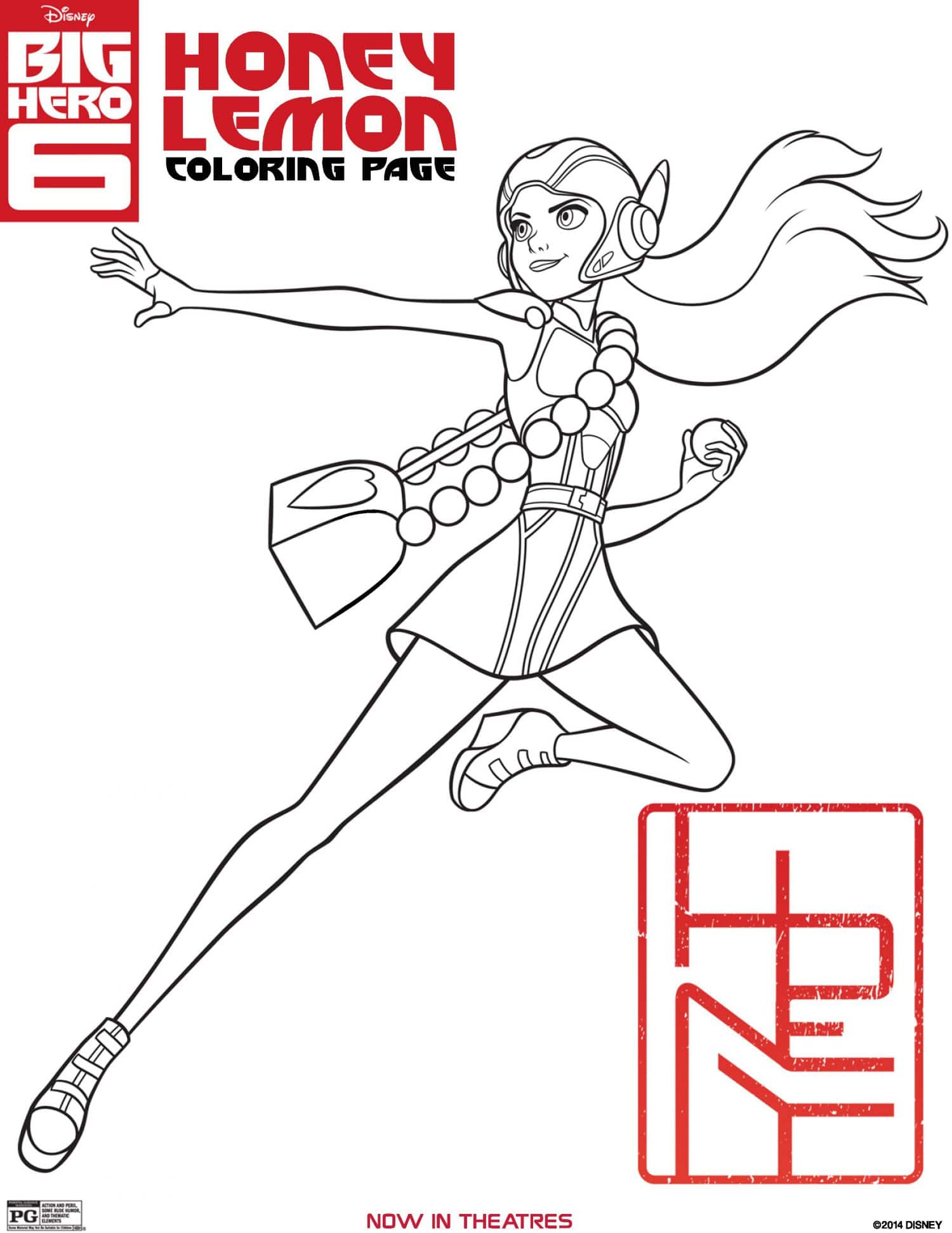 big hero 6 coloring page honey lemon - Activity Coloring Sheets