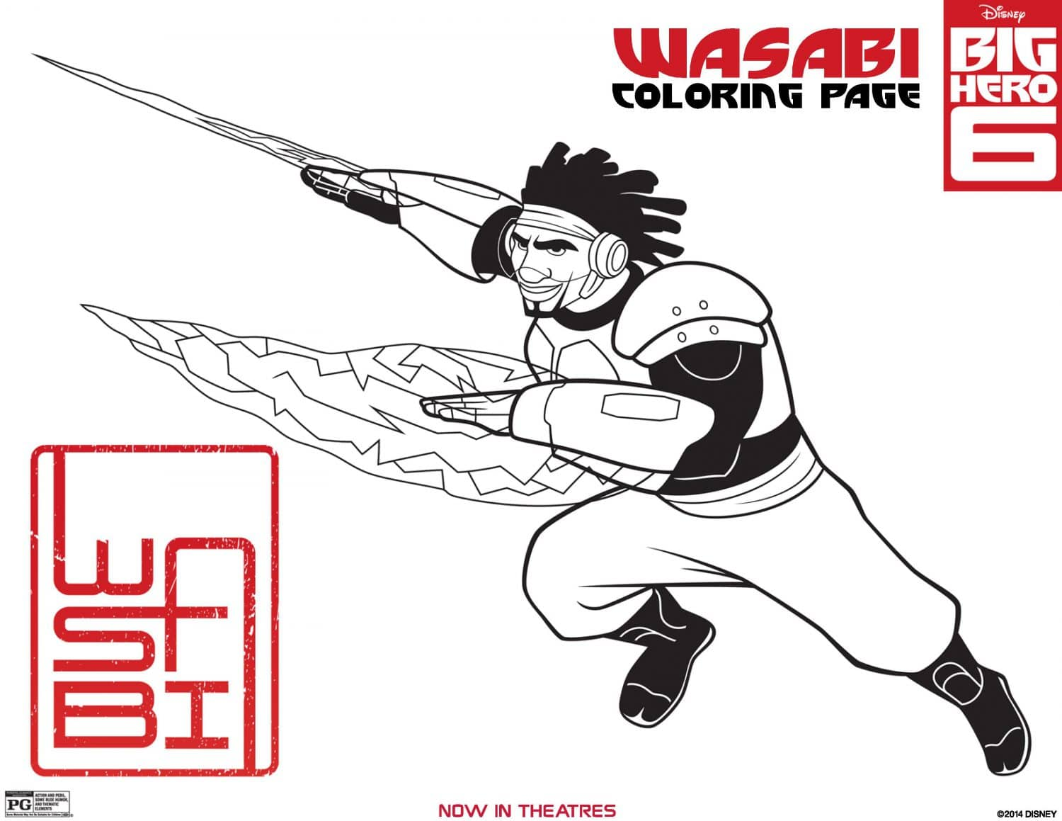 Big Hero 6 Coloring Page Wasabi