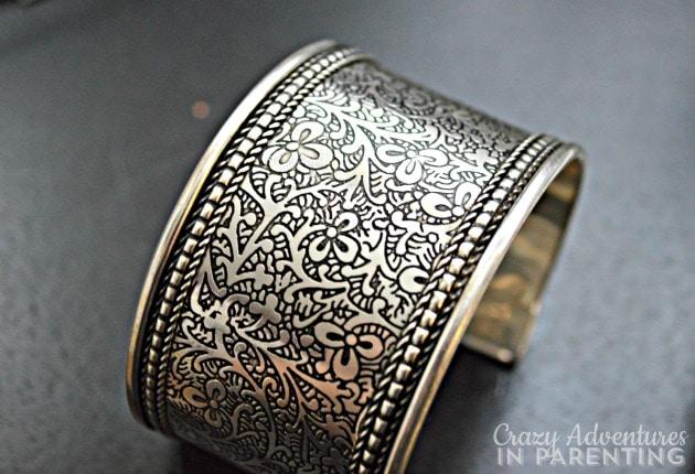 silver vines cuff close-up