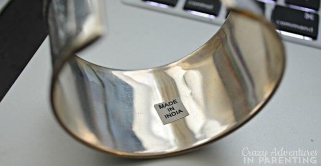 silver vines cuff label