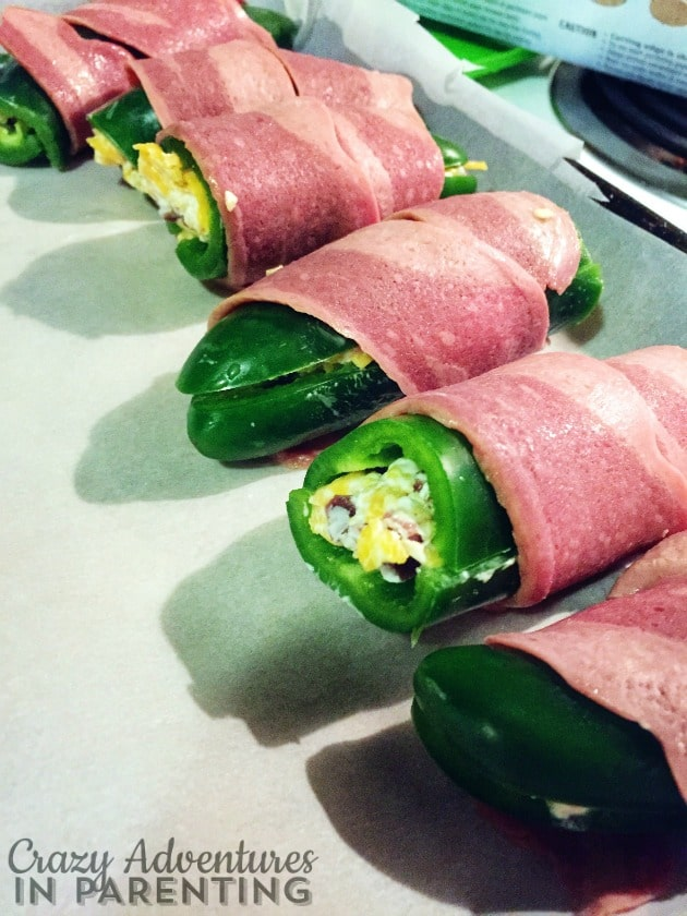 Bacon-wrapped baked jalapeño poppers, yesssssss!!