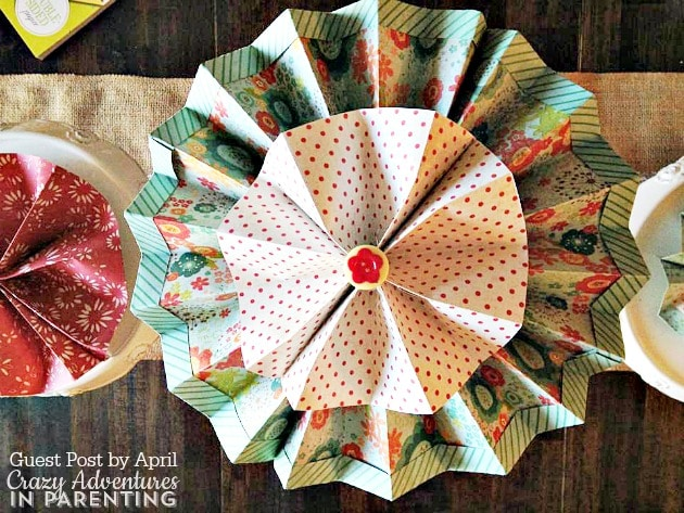 paper rosette with embellishments
