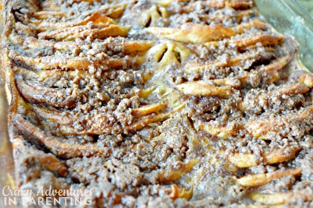 Cinnamon Roll Pancake Bake close up