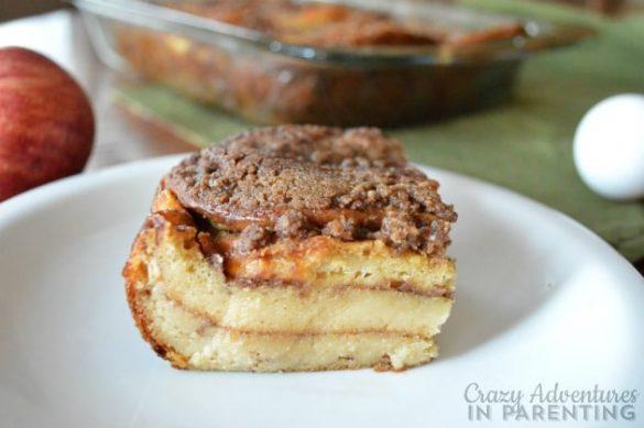 Cinnamon Roll Pancake Bake on a plate