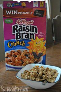 Kellogg's Raisin Bran Crunch cereal in a bowl