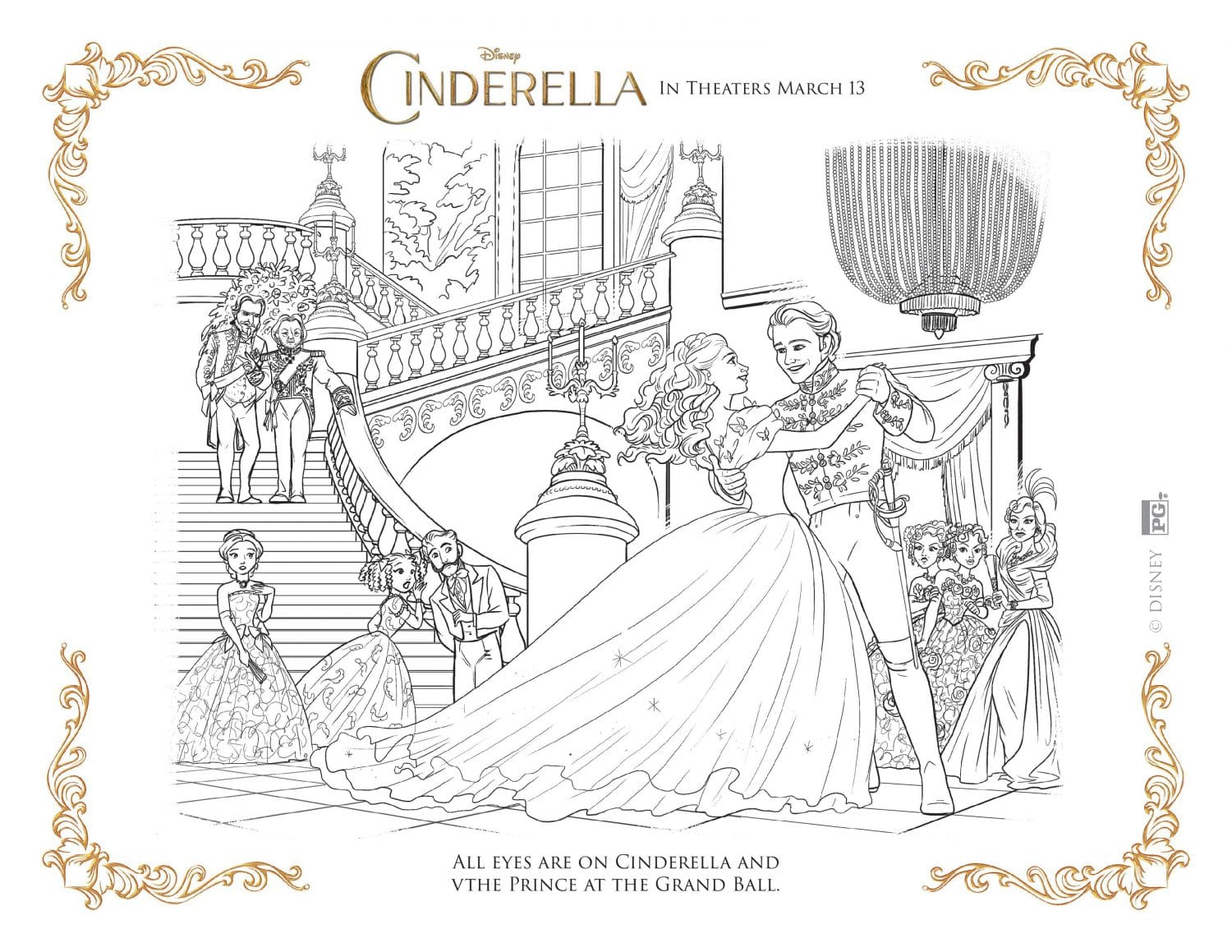 T ball coloring pages -  Cinderella Coloring Page Cinderella And Prince At The Ball