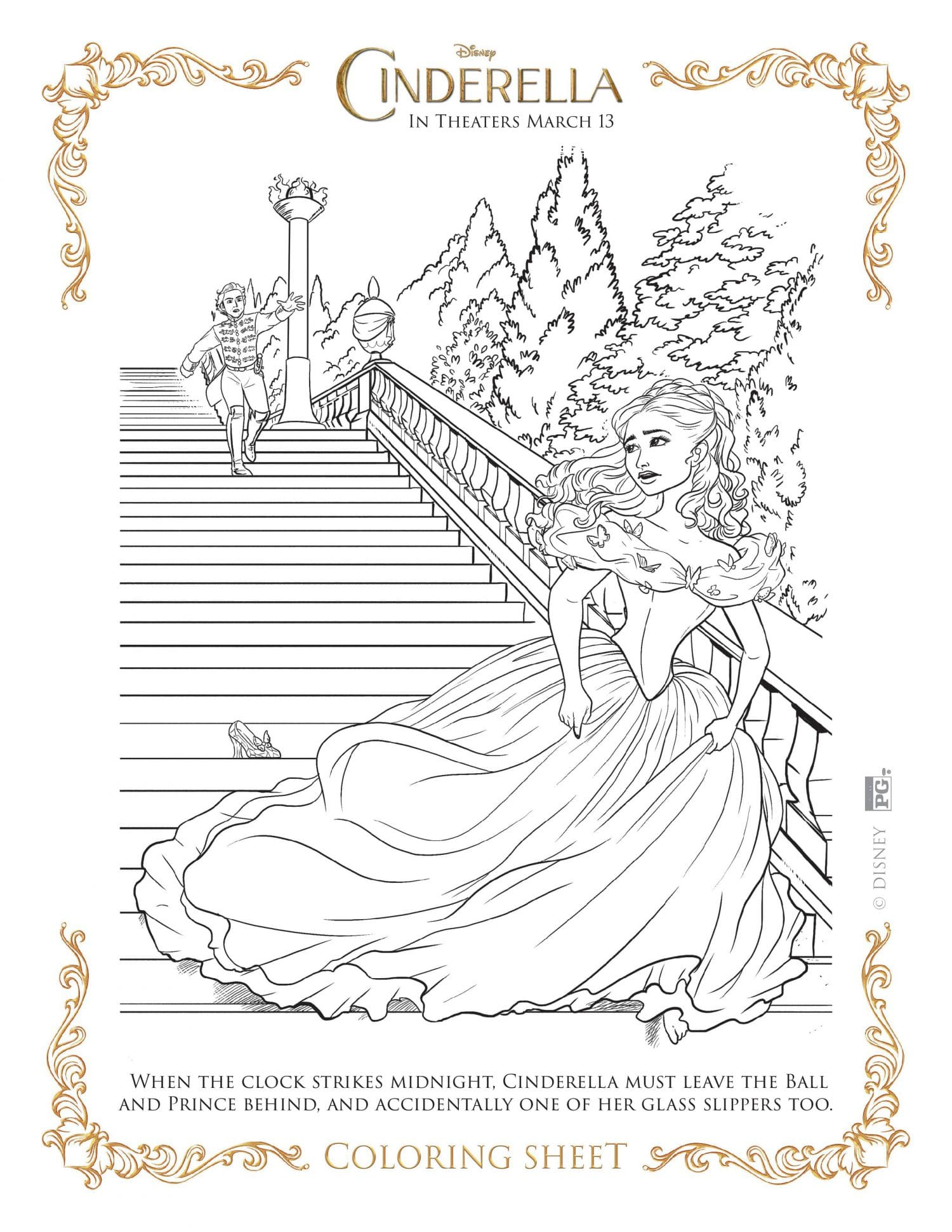 Cinderella coloring page - clock strikes midnight