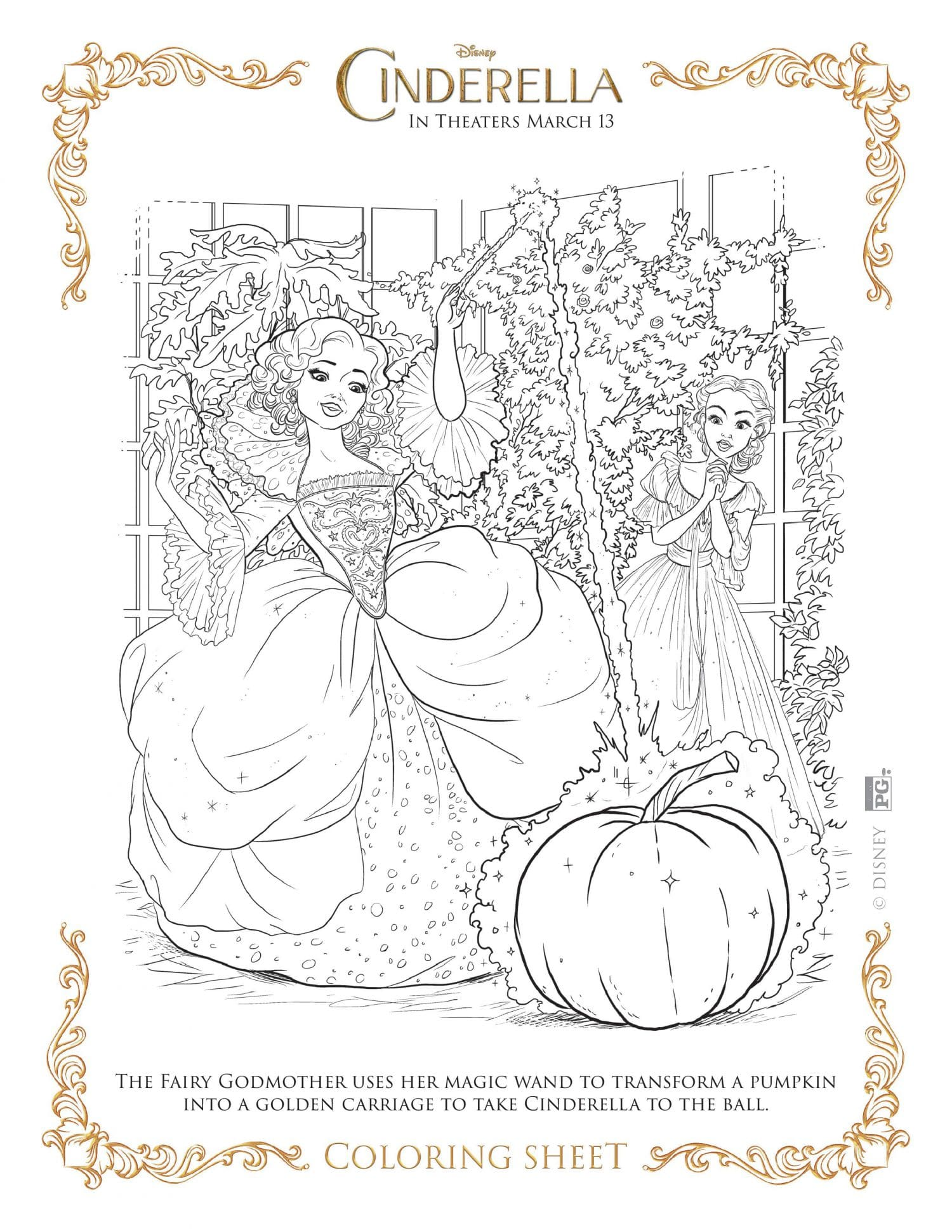 Cinderella coloring page - fairy godmother