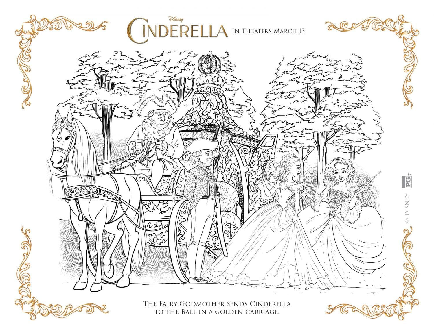 Cinderella coloring page - golden carriage