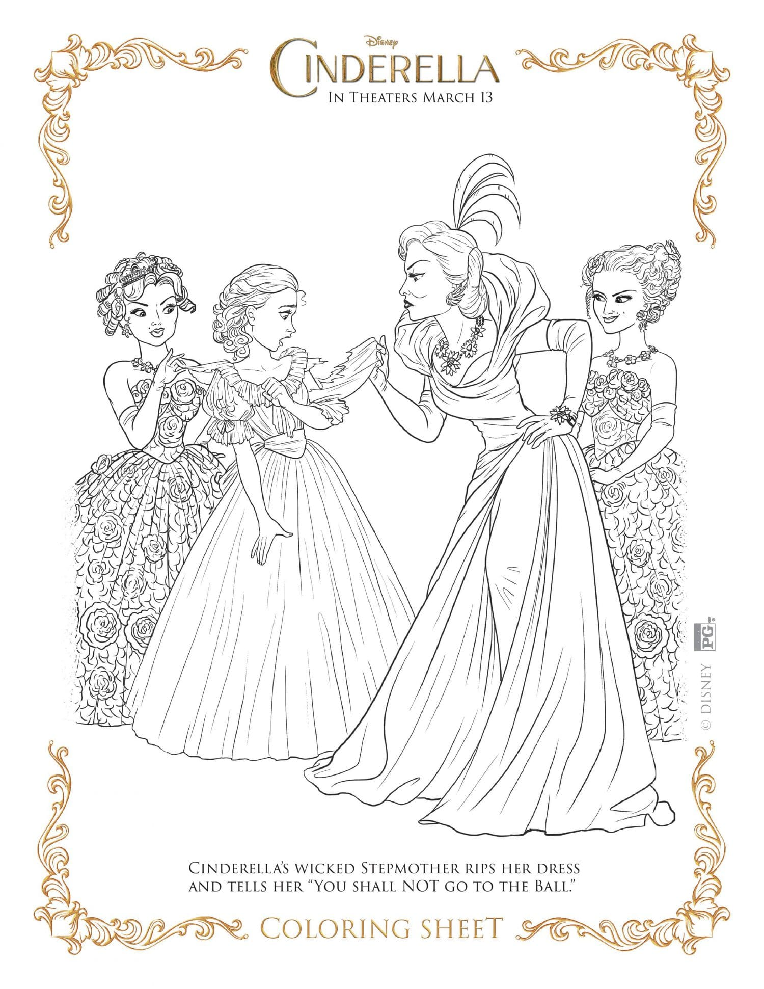T ball coloring pages - Cinderella Coloring Page Wicked Stepmother Cinderella Coloring Page Wicked Stepmother