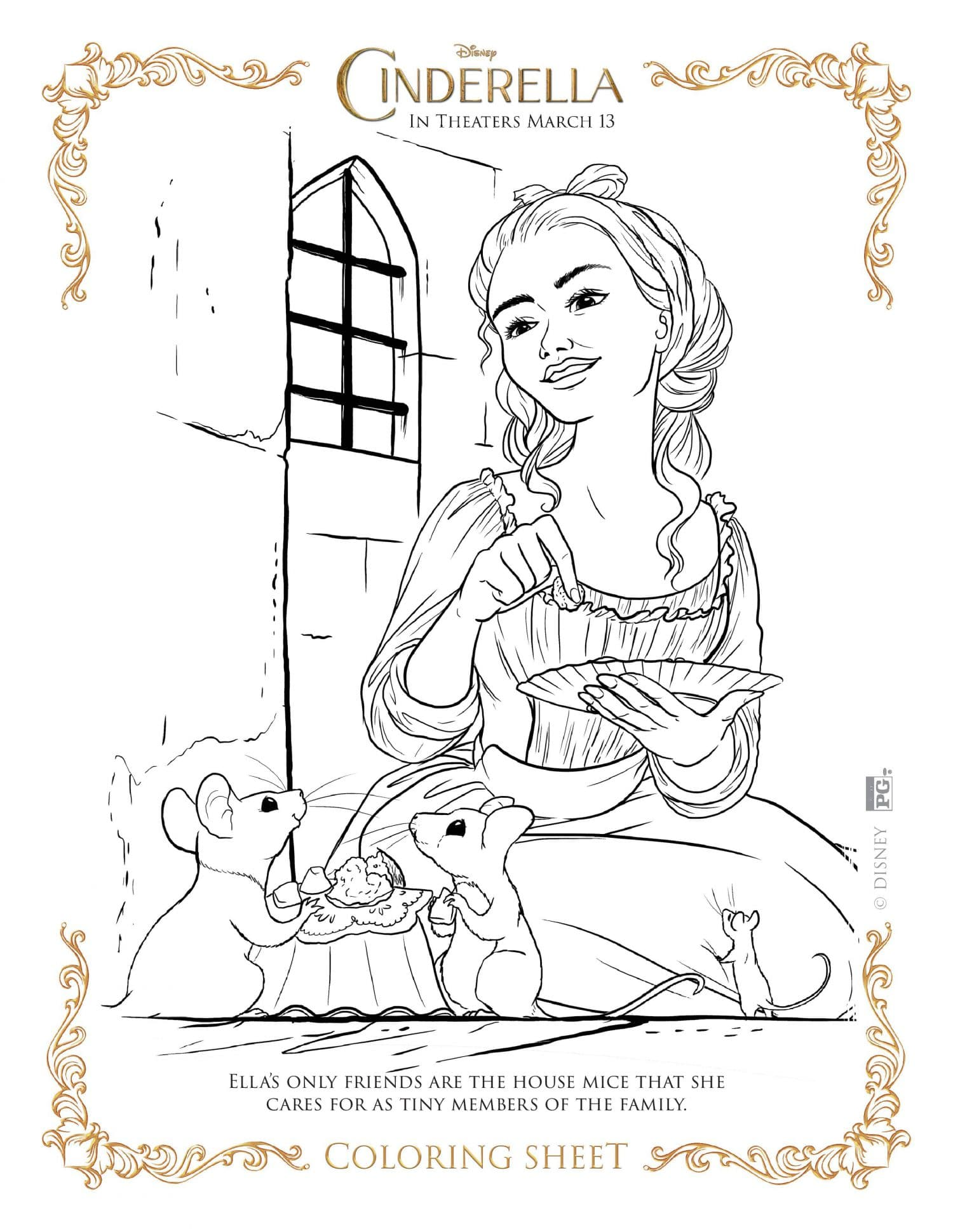 NEW Disney\'s Cinderella Coloring Pages and Activity Sheets
