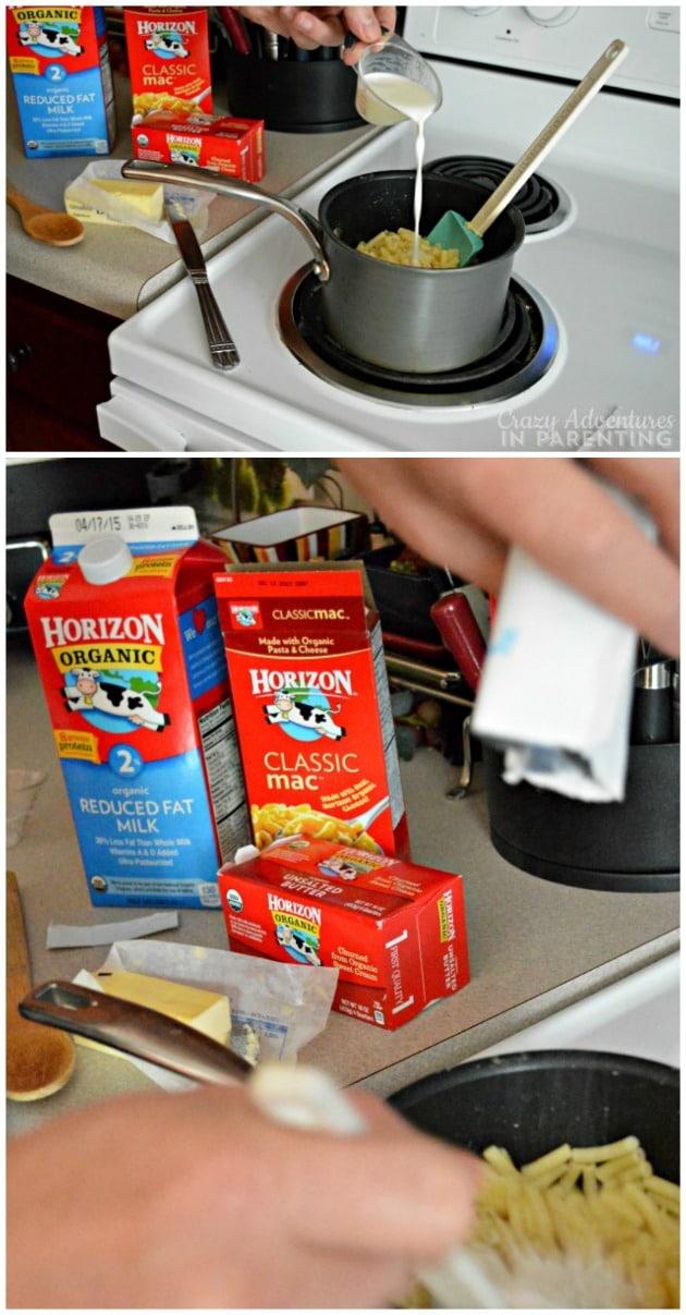 Preparing Horizon Organic macaroni and cheese for lunch