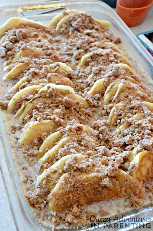 add streusel to the cinnamon roll pancake bake