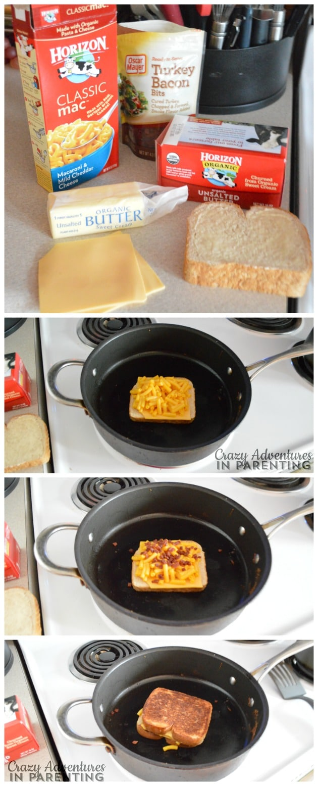 Preparing bacon macaroni and cheese grilled cheese as a quick and easy meal or after-school snack