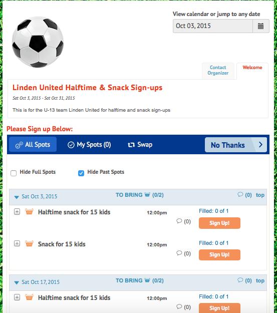 Our VolunteerSpot sign-up sheet for soccer