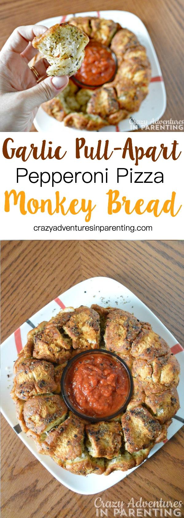 Easy Garlic Pull-Apart Pepperoni Pizza Monkey Bread
