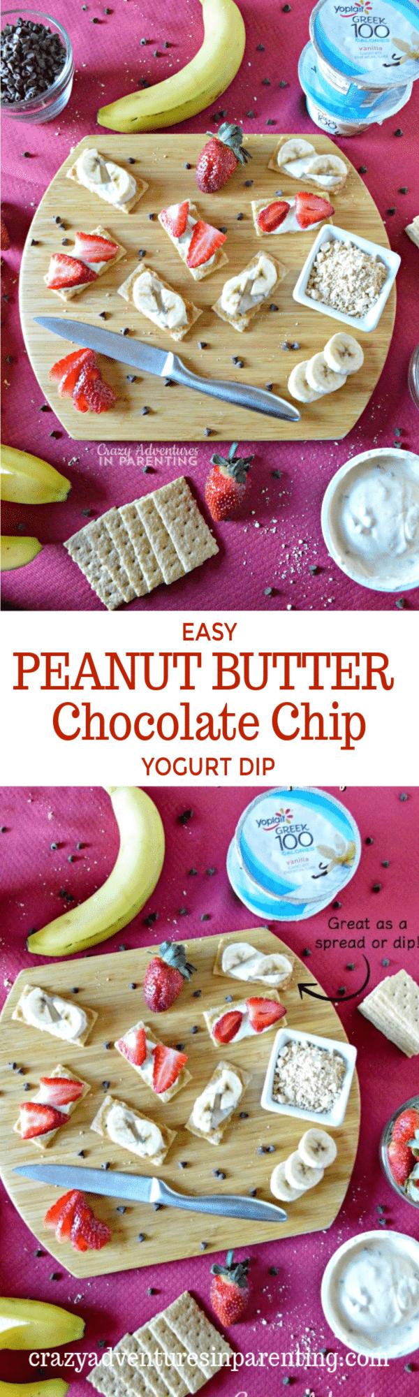 Easy Peanut Butter Chocolate Chip Yogurt Dip