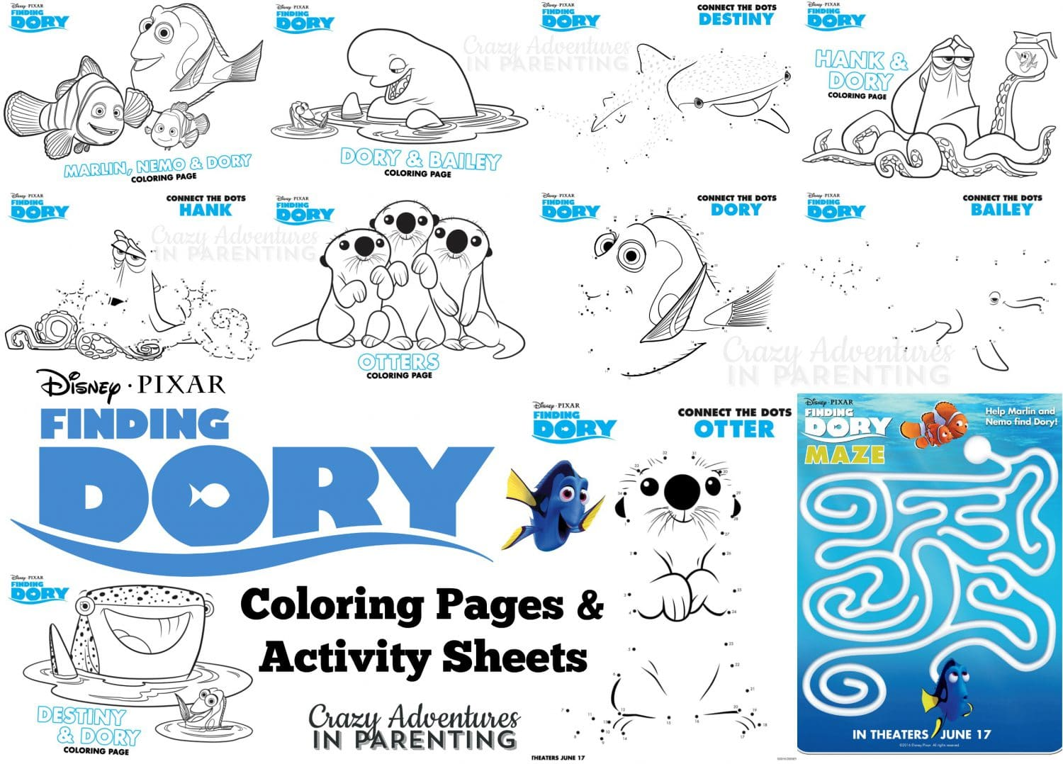 Finding Dory Coloring Pages and Activity Sheets | Crazy ...