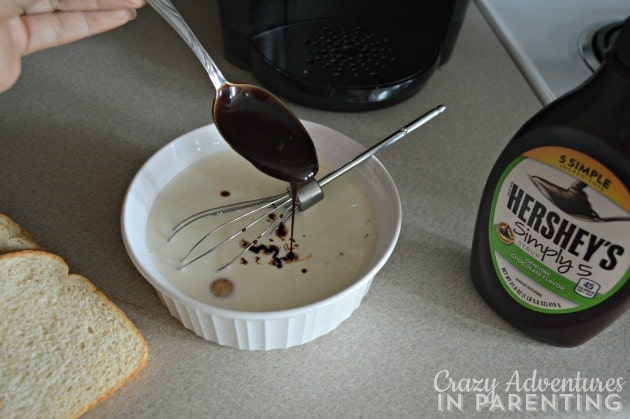 Adding Hershey's Simply 5 to French toast mixture