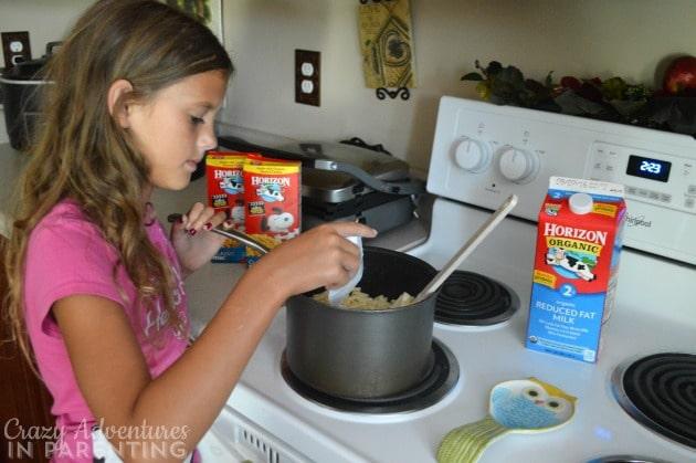 Daughter helping me mac Horizon Organic macaroni and cheese