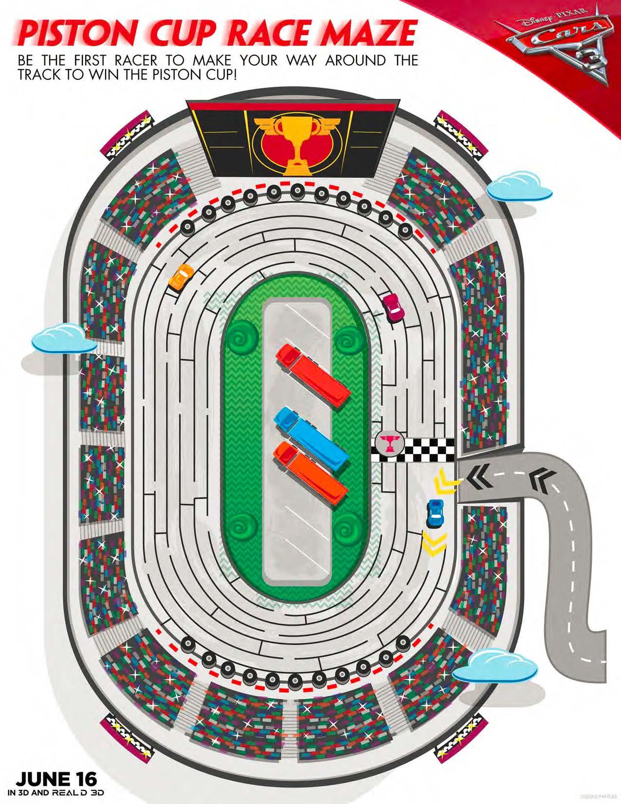 Cars 3 Activity Sheet - Piston Cup Race Maze