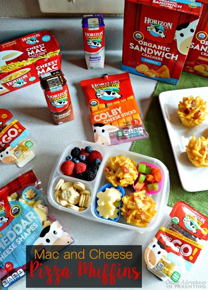 Mac and Cheese Pizza Muffins for School Lunches with Horizon Organic