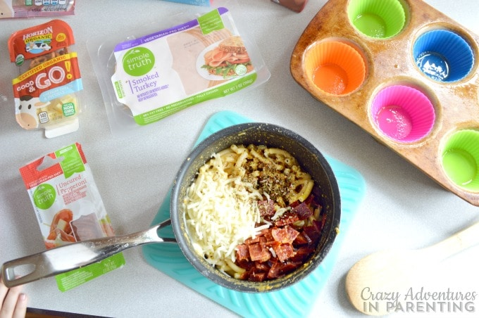 Mac and Cheese Pizza Muffins preparation