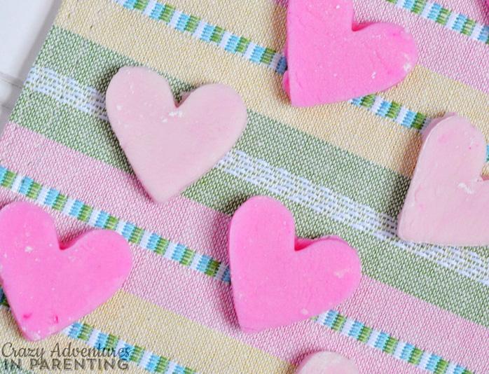 Mint cream cheese hearts
